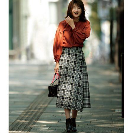 THE IRON/ウールチェックラップスカート/¥31,000+税