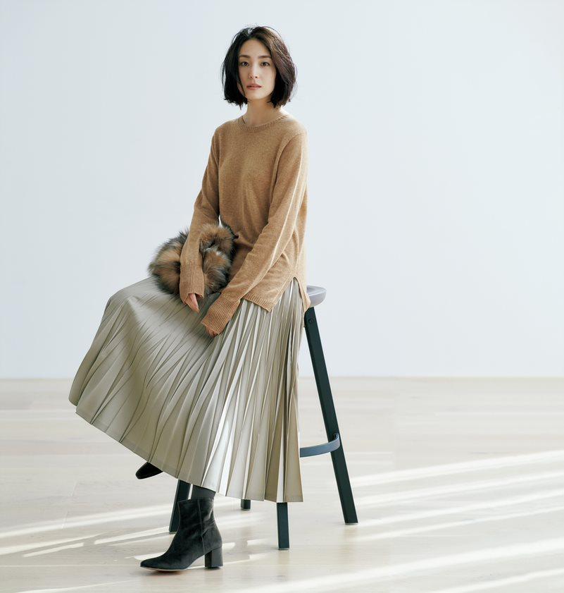 地曳いく子×eclat/プリーツスカート/¥22,000