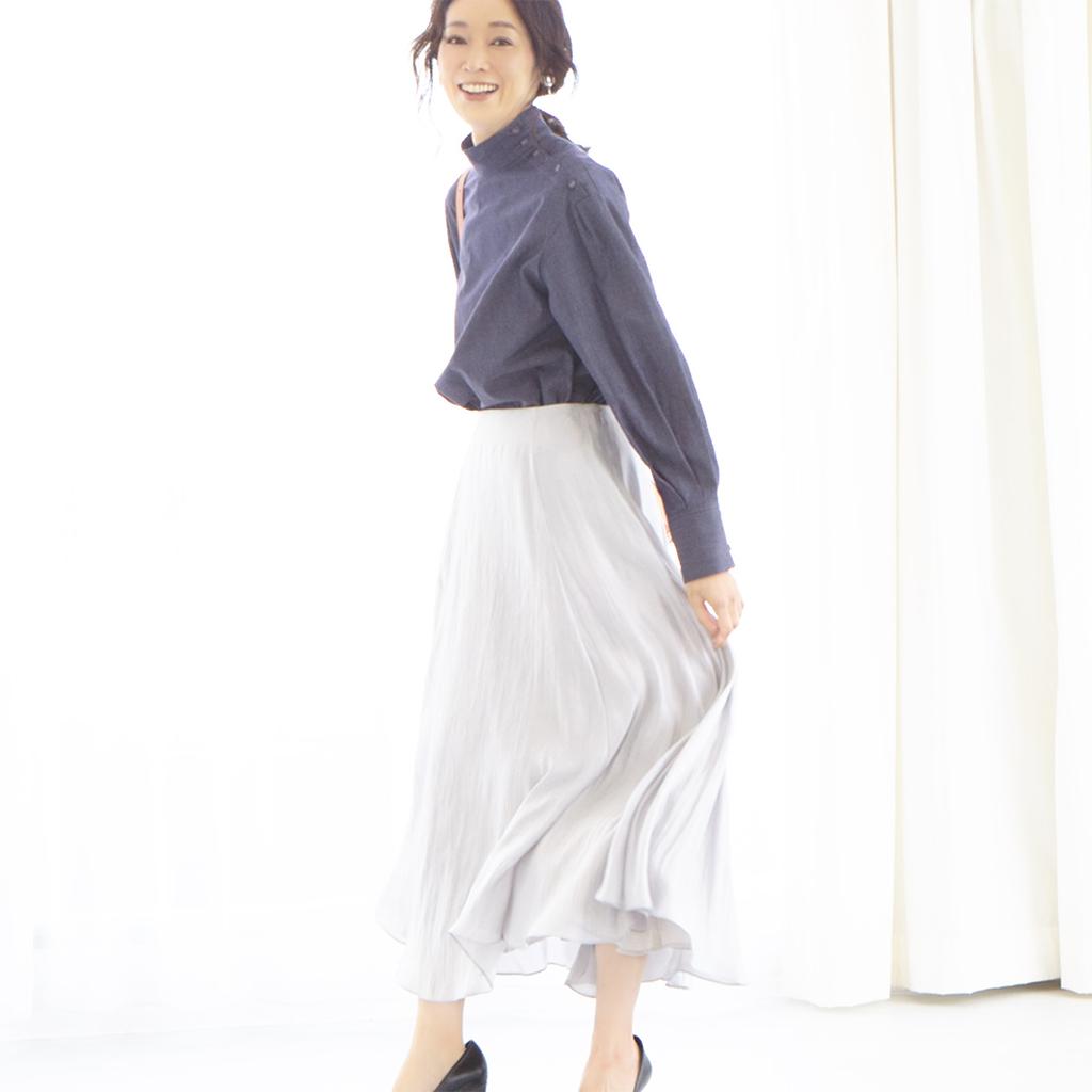 マキシ丈裾ボリュームスカート(シルバー)/M7days