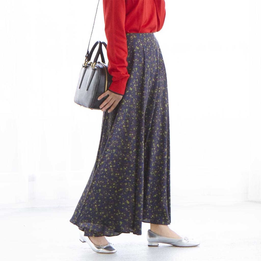 マキシ丈裾ボリュームスカート(フラワープリント)/M7days