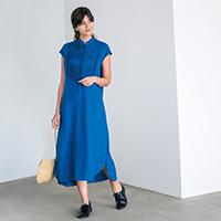 リネン ピンタックシャツドレス