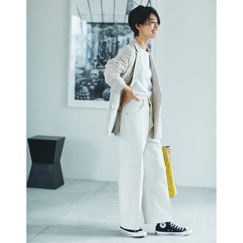 caqu/【玄長なおこさんコラボ】着痩せワイドストレート/¥18,000+税