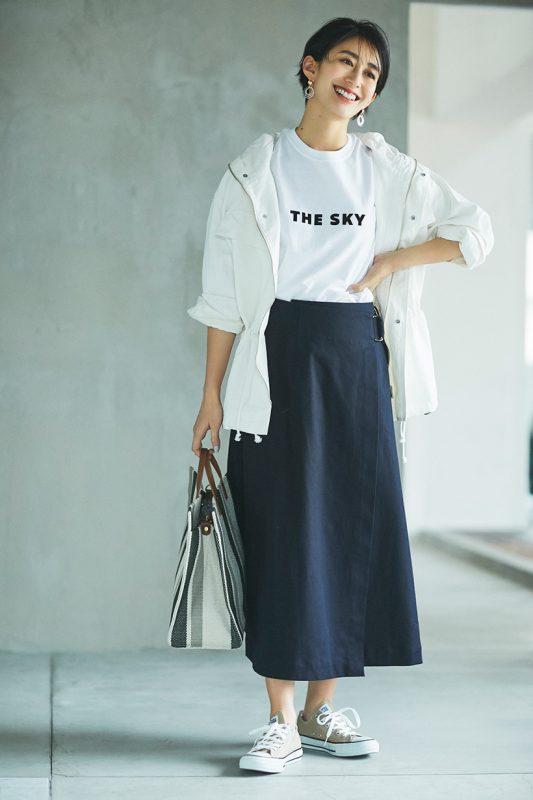 le ciel de HARRISS/【玄長なおこさんコラボ】着やせ ラップスカート ネイビー着回し②