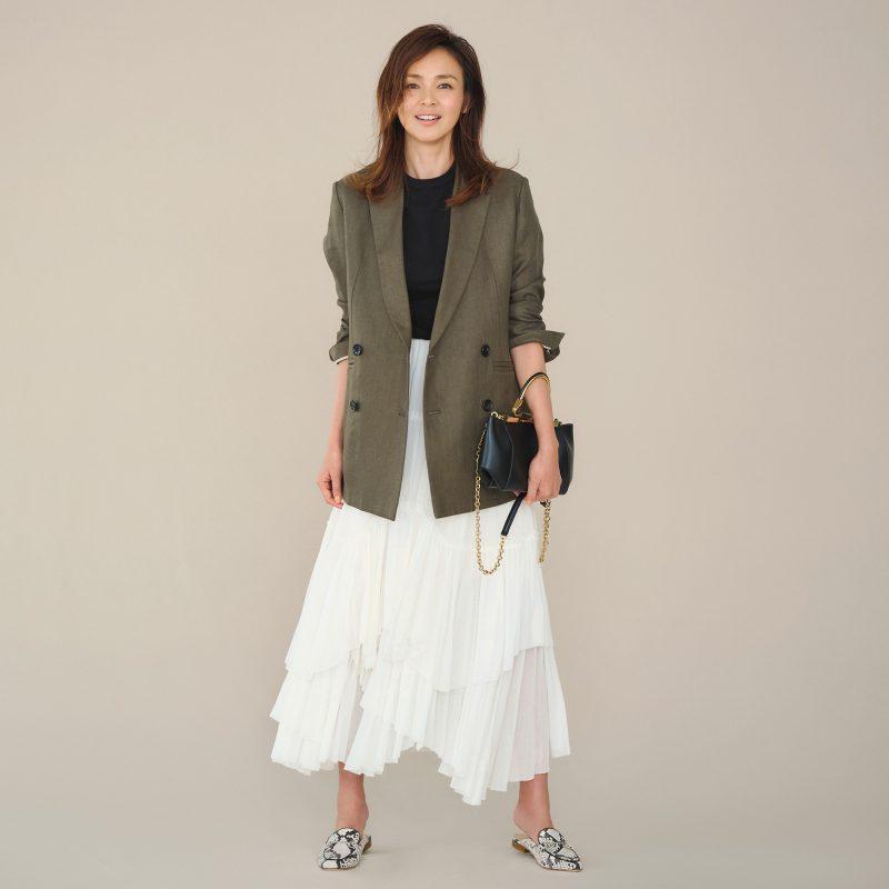 Chaos  【徳原文子さん別注】リネンヘリンボンジャケット ¥42,000 +税