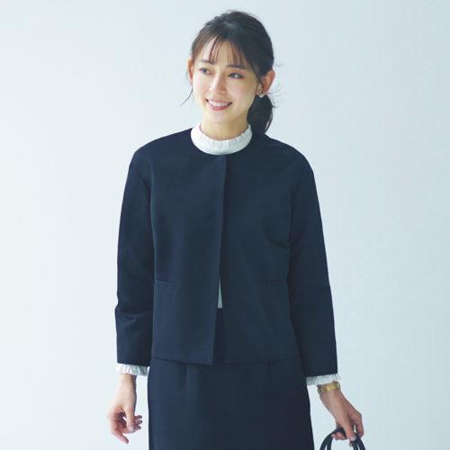 12closet/【洗える】グログランノーカラージャケット/¥22,000+税