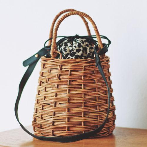 MARCHER/【石上美津江さん×マルシェ】巾着ポシェット付きかごバッグ/¥17,000+税