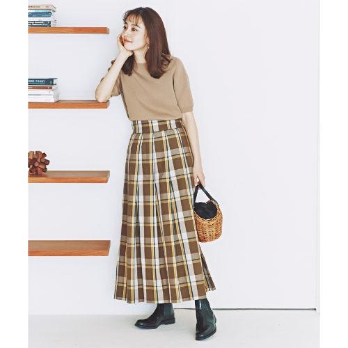 LE GLAZIK/チェックプリーツスカート/¥17,000+税
