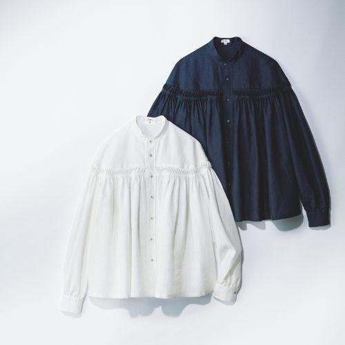 Scye/前開きリネンタックシャツ/¥39,000+税