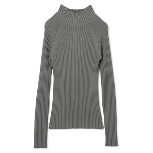 LE CIEL BLEU Bottle neck Rib Knit Tops