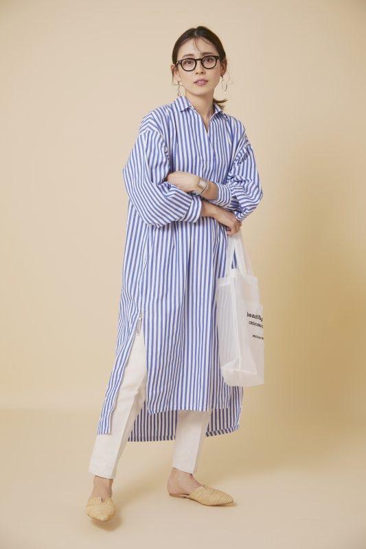 MICANA/【AMERICANA】×【MICA&DEAL】サイドジップスキッパーシャツワンピース/¥25,000+税
