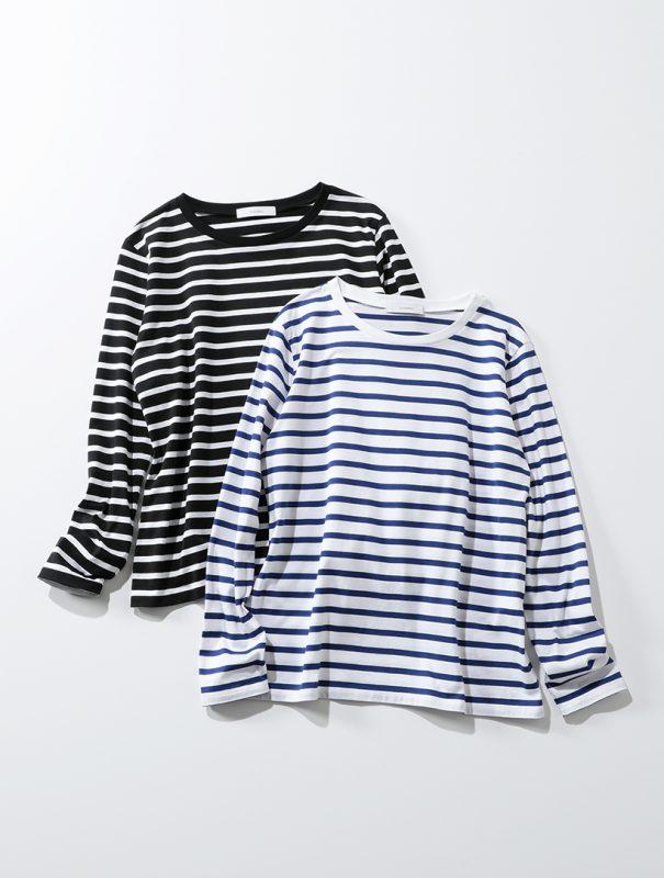 suadeo/Munichコラボレーション【使える】シルク見えキレイ目ボーダーロングTシャツ/¥7,000