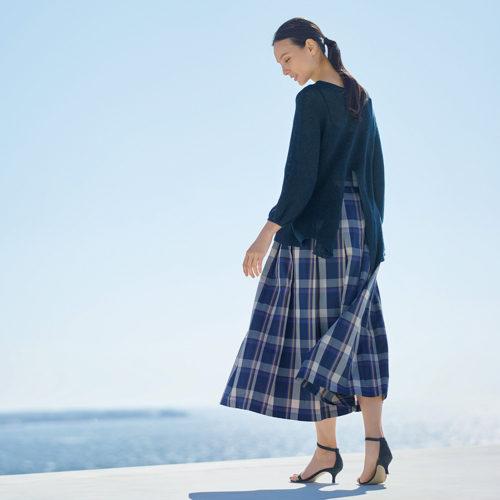 LE GLAZIK  プリーツスカート   ネイビーチェック   ¥17,000→¥13,600+税(20%OFF)