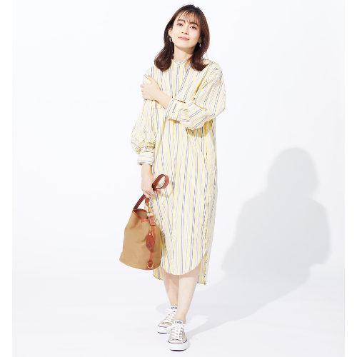suadeo/【AMERICANA】コラボレーション バンドカラーマルチストライプ シャツプルオーバー/¥23,000+税
