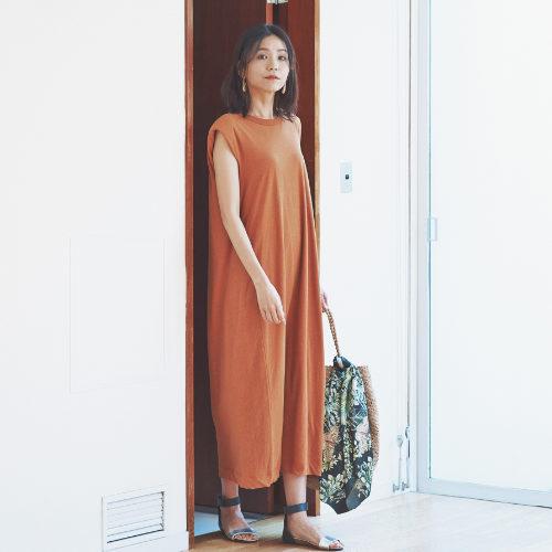 unfil/recyle cotton jersey padded shoulder dress/¥22,000+税