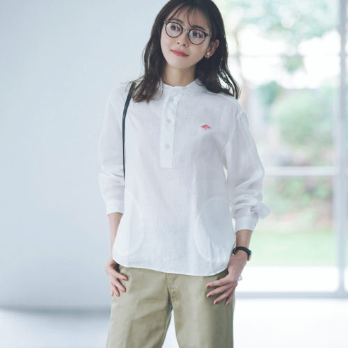 DANTON/リネン丸襟シャツ/¥13,800+税