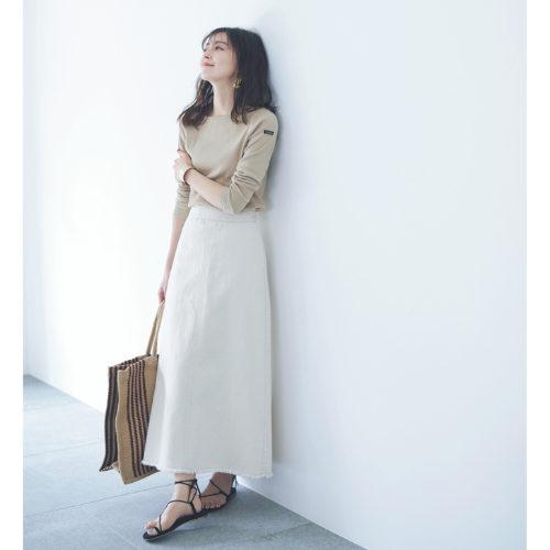 MICA & DEAL/フリンジデニムロングスカート/¥16,000+税