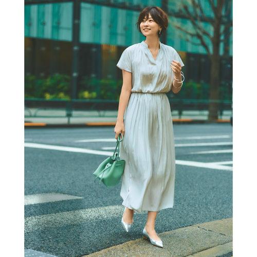M7days for office とろみシャーリングワンピース ¥19,000+税