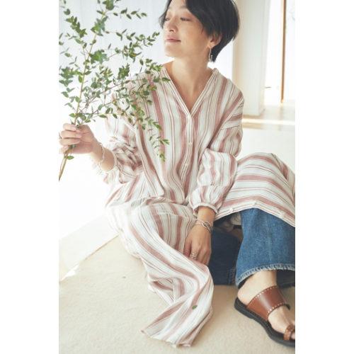 oblekt/【高山都×oblekt】レーヨン麻ストライプワンピース/¥18,000+税
