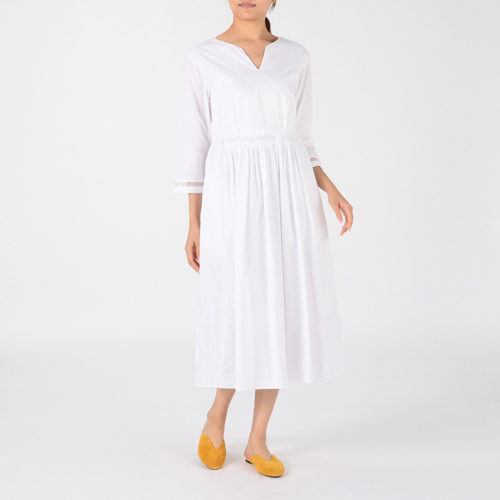 ne Quittez pas/POPLIN LACE WAIST TUCK DRESS/¥22,000+税