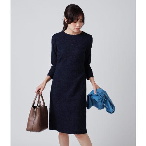 NEWYORKER/ラメツィード 7分袖ワンピース/¥33,000+税
