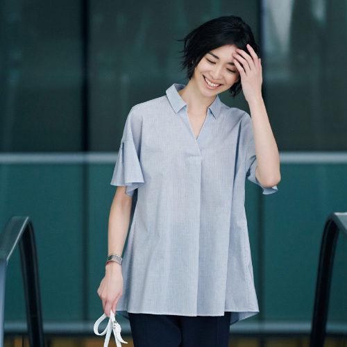 【洗える】スキッパーシャツ ¥14,000+税