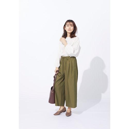 コットンクロップドワイドパンツ ¥12,000+税