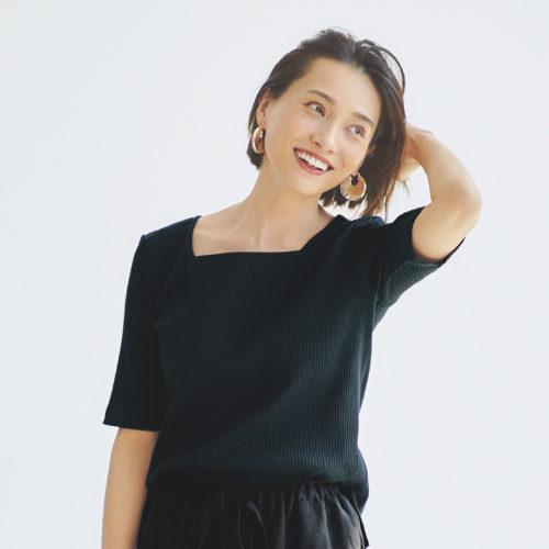 【福田麻琴さんコラボ】【洗える】2WAYリブTシャツ ¥7,800+税