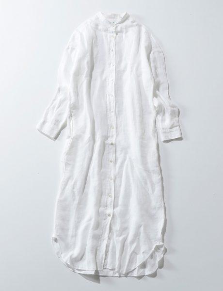 Finamore バンドカラーシャツワンピース(ネップ仕上げ)