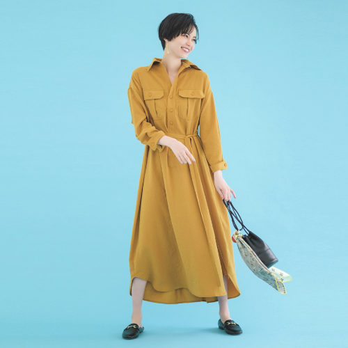 BLUEBIRD BOULEVARD/ワッシャーツイルシャツドレス/¥39,000+税