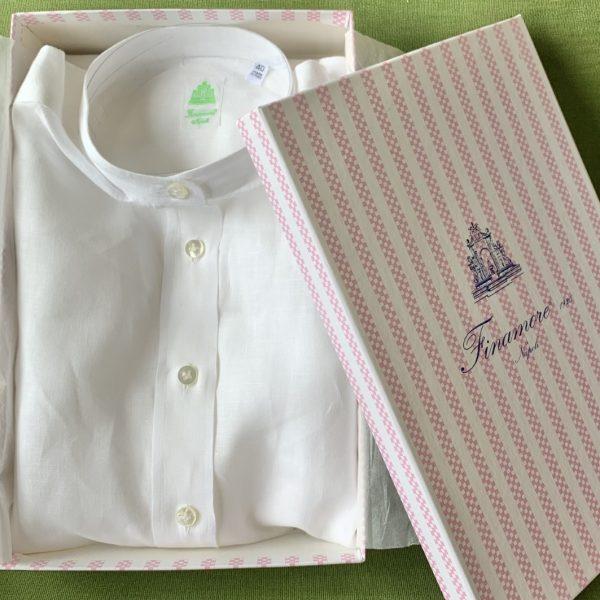 Finamore バンドカラーシャツワンピース(ネップ仕上げ) ¥39,000+税