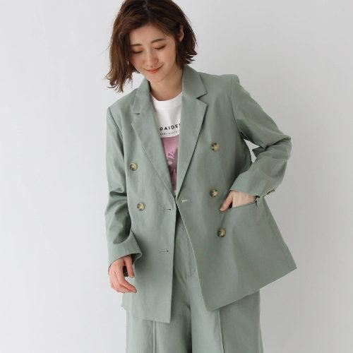 AG by aquagirl/【WEB限定Lサイズあり】コットンリネンダブルボタンジャケット(ライトグリーン)/¥7,500+税