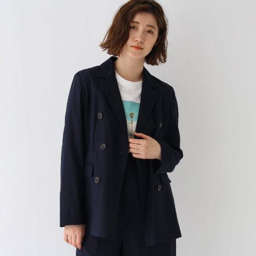 AG by aquagirl/【WEB限定Lサイズあり】コットンリネンダブルボタンジャケット(ネイビー)/¥7,500+税