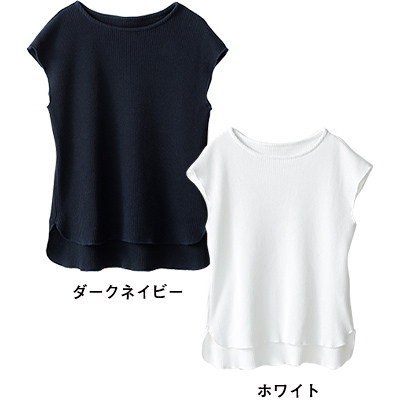 フレンチスリーブ ワッフルTシャツ(ダークネイビー・ホワイト)/12closet
