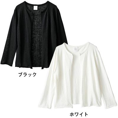 薄×軽 リネンカーディガン(ブラック・ホワイト)/12closet