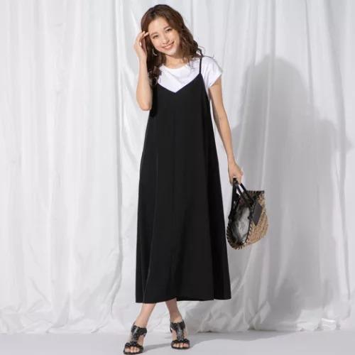 QUEENS COURT (クイーンズコート)/Tシャツ付きバックレースキャミソールワンピース《セットアイテム》/¥19,000+税