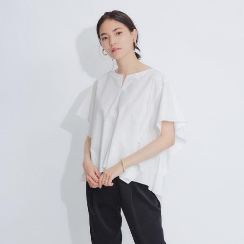 qualite / コットンフレアスリーブシャツ /¥17,000+税