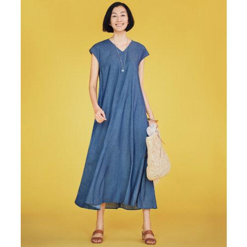 自由区/BLUE ライトオンス デニムドレープワンピース/¥28,000+税