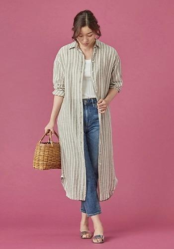 【シャツワンピ羽織コーデ】Finamore/レギュラーカラーシャツワンピース(ネップ仕上げ)/¥39,000+税
