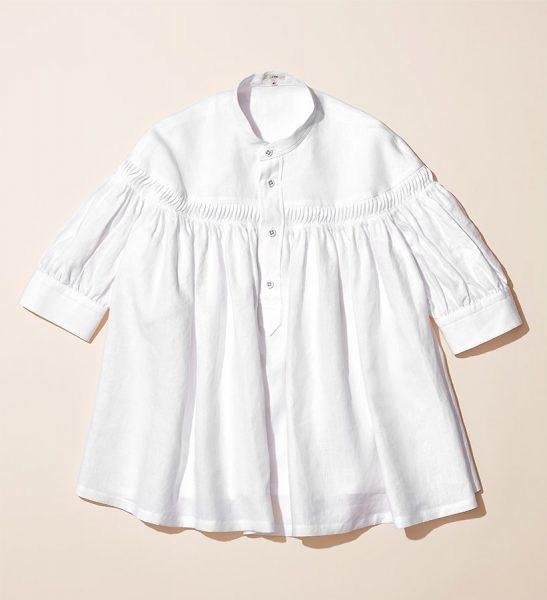 Scye リネン高密度半袖タックシャツ