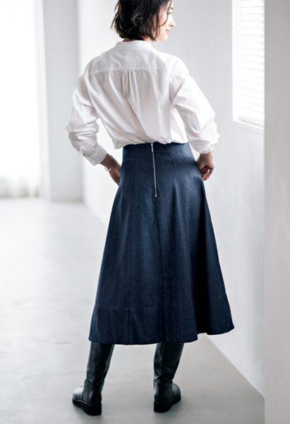 Aラインデニムフレアスカート/12closet