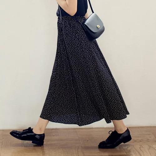 12closet/【洗える】リーフ柄プリントフレアスカート/¥14000