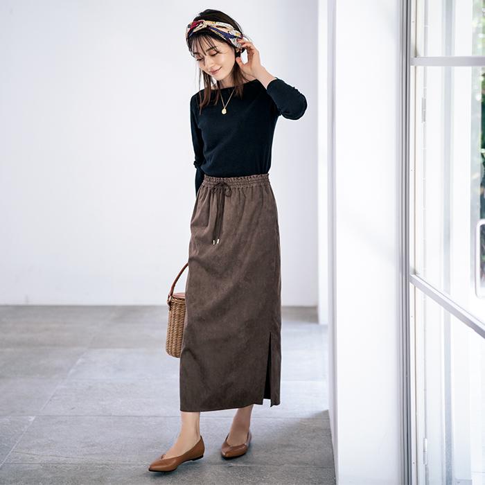 ウォッシャブルフェイクスエードスカート/MICA & DEAL