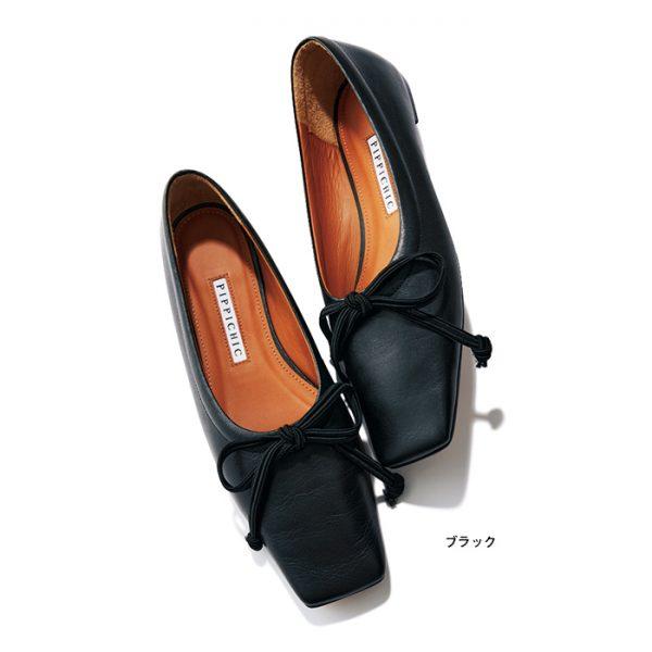 スクエアトゥバレエシューズ AMBER BALLET 15 ブラック/PIPPICHIC