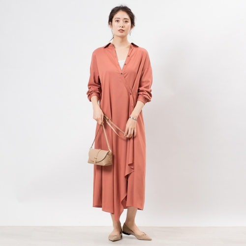 Rouge vif/アシンメトリーシャツワンピース/¥24,500+税