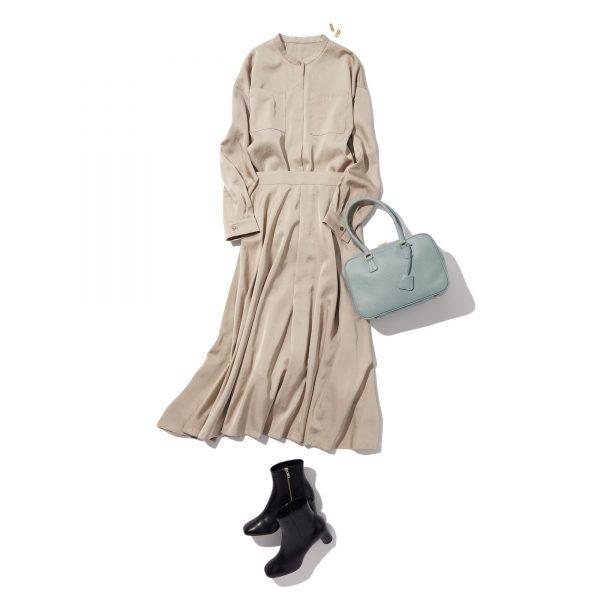 \今日のコーデ/艶グレージュのワントーンで女度の高い都会的な装いへ【2020/10/23】