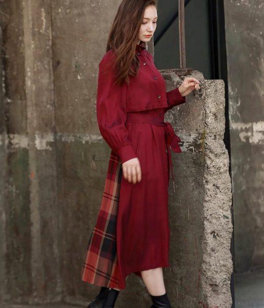 TRUE NAVY/トレンチシャツドレス(ワイン)/¥45,000+税