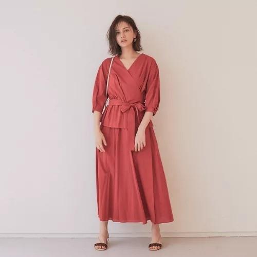Rouge vif/【BRHAMIN】レイヤード風カシュクールワンピース/¥16,000+税