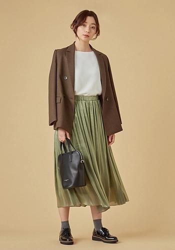 【ジャケット×煌めきスカートコーデ】NOLLEY'S/シャークツイードダブルジャケット/¥18,000+税