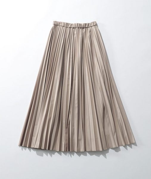 サスティナブルレザースカートは艶感が◎/suadeo サスティナブルレザープリーツスカート