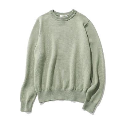 SLOANE 12Gメリノウール天竺スレッド編みクルーネックセーター